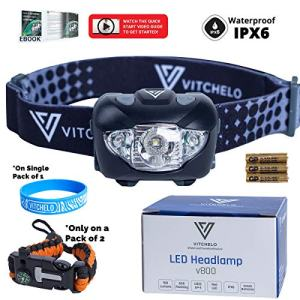 VITCHELO V800 Headlamp Flashlight with White and Red LED Lights. Super Bright Head Light & Waterproof. 3 AAA Batteries Included Best for Trail Running Jogging Camping Hiking Hunting Reading Mechanic