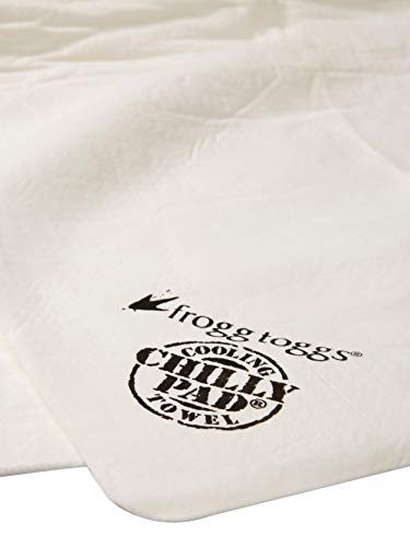 Frogg Toggs Chilly Pad Cooling Towel Chilly Pad keeps you cool during a round of golf, workout, or any other strenuous activity  Perfect for anyone engaged in sports or work  Made from a new hyper-evaporative material that retains water while remaining dry to the touch  When wet, becomes considerably cooler than the outside air, thereby providing cooling relief to the user  When it stops cooling (between 1-4 hours depending on conditions), simply re-wet the towel in hot or cold water and wring it out