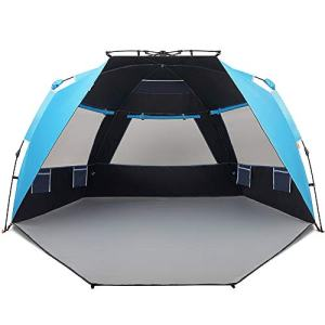 Easthills Outdoors Instant Shader Dark Shelter Deluxe XL Easy Up 4 Person Beach Tent Sun Shelter UPF 50+ with Extended Zippered Porch