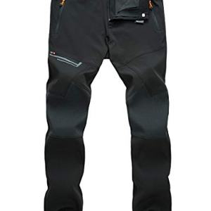 MAGCOMSEN Men's Hiking Pants Water Resistant 4 Zip Pockets Reinforced Knees Lightweight and Thick Fleece Lined Ski Pants