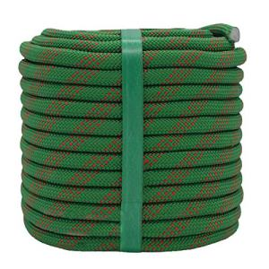 YUZENET Static Rock Climbing Rope 2/5 Inch 100 Feet Outdoor Safety Fire Escape Rope Rappelling Rope, Green/Red