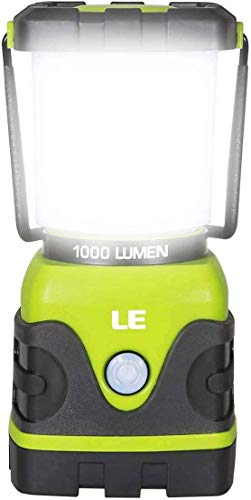LE LED Camping Lantern, Battery Powered LED with 1000LM, 4 Light Modes, Waterproof Tent Light, Perfect Lantern Flashlight for Hurricane, Emergency, Survival Kits, Hiking, Fishing, Home and More,