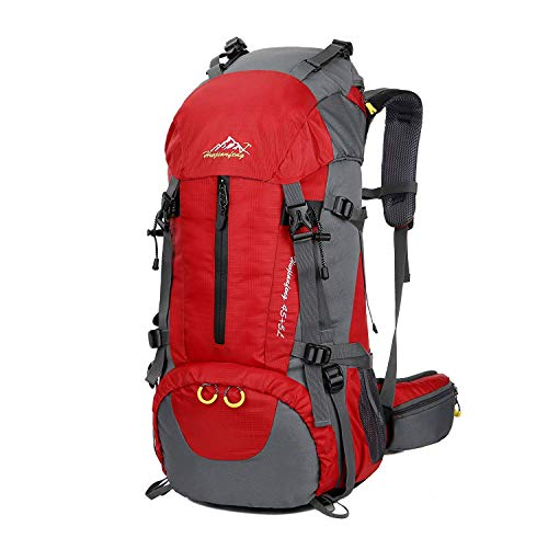 Hiking Backpack, Esup 50L Multipurpose Mountaineering Backpack with rain cover 45l+5l Travel Camping Backpack (Red-50L)