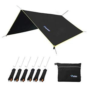 "LLY Lightweight Hammock Sun/Rain Tarp Shelter Shade Tent Tarp 10.6ft with Stakes and Ropes for Camping Backpacking Fishing (94"" x 86"" Black)"