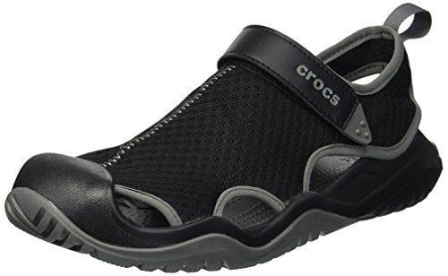 crocs Men's Swiftwater Mesh Deck Sandal Sport, Black, 13 M US