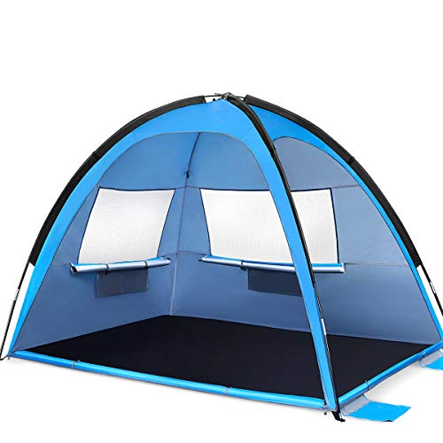 MOVTOTP Beach Tent Sun Shade Shelter, 3-4 Person Large SunShade Canopy UPF 50+ Sport Umbrella Instant Tent for Camping, Outdoor, Beach Accessories [2020 Updated]
