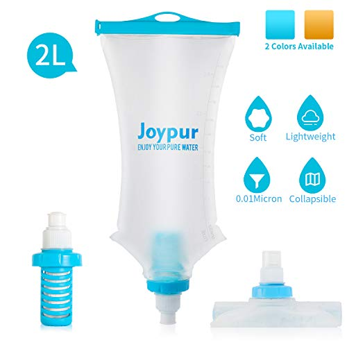Joypur Portable Water Filter Camping 2-Stage Integrated Collapsible Filtered Water Bottle for Endurance Sports, Hiking and Backpacking, 2.0L Blue