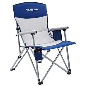 KingCamp Camping Chair Hard Arm Folding Camp Chair High Back Ergonom Outdoor Sports Chair for Adults with Cup Holder, Pocket, for Travel Picnic Hiking, Supports 300 lbs, Blue-Padded Back