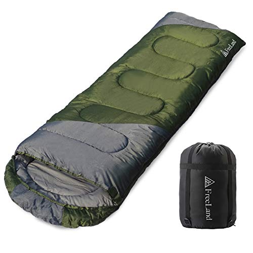 FreeLand Camping Sleeping Bag for Adults for Backpacking, Hiking & Traveling, Green Color