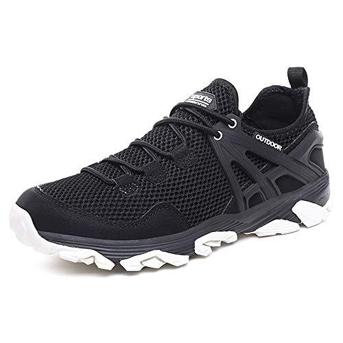 Idea Frames Men Hiking Shoes Lightweight Non-Slip Outdoor Sneaker for Walking Trekking Camping Trail Running Shoe Black/White
