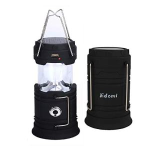 Edomi LED Camping Lantern Solar Flashlight Camping Light USB Rechargeable Outdoor Survival Torch for Emergency Hurricane Tent Fishing Camp Indoor Portable Collapsible Lamp with Batteries