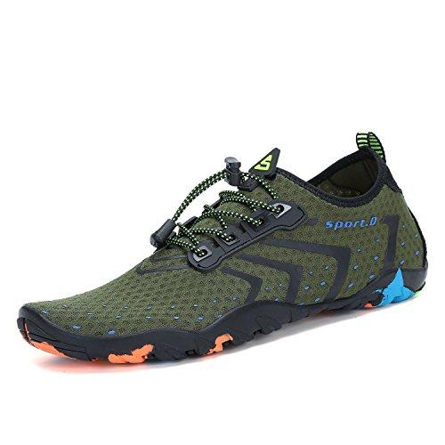 Mens Womens Water Shoes Quick Dry Barefoot for Swim Diving Surf Aqua Sports Pool Beach Walking Yoga Green 10