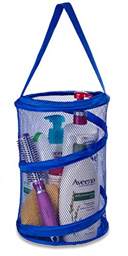 """Dorm Shower Caddy – 8"""" X 12"""" - Carry Your Personal Care Items Right Into the Shower. Great for College Dorm Life, Gyms, Camping and Travel. Folds Flat for Easy Storage When Not Needed. (Blue)"""