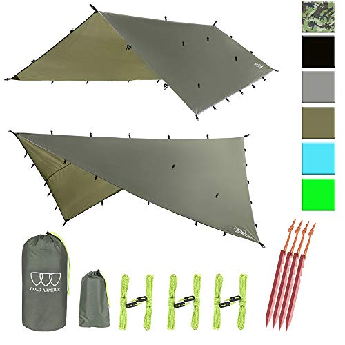Gold Armour Rainfly Tarp Hammock, 14.7ft/12ft/10ft/8ft Rain Fly Cover, Waterproof Ultralight Ripstop Fabric, Survival Gear Backpacking Camping Tent Accessories (OD Green, 12ft x 10ft)