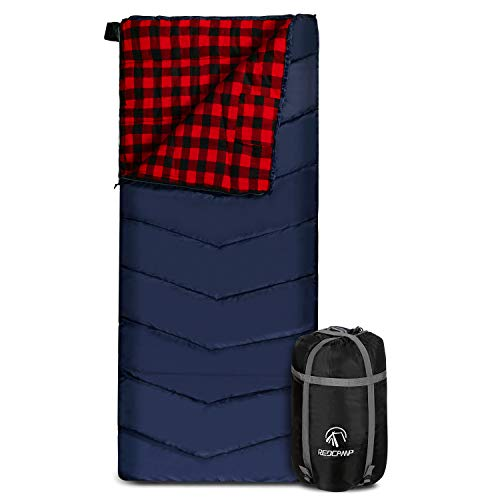 """REDCAMP Cotton Flannel Sleeping Bag for Adults, XL 32/41/50F Comfortable, Envelope Sleeping Bag with Compression Sack, Red Plaid 2lbs(79""""x33"""")"""