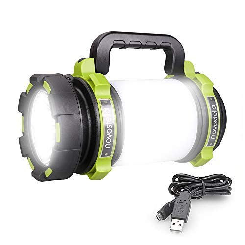 Novostella Rechargeable 1000LM CREE LED Spotlight, Multi Function Outdoor Camping Lantern Flashlight Hurricane Lantern 4000mAh Waterproof LED Searchlight with USB Cable for Hiking Fishing Emergency