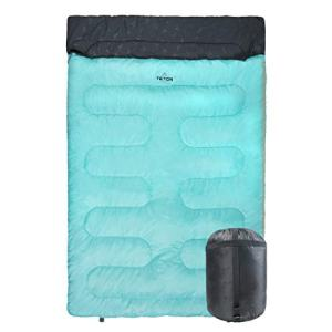 "TETON Sports Cascade Double Sleeping Bag; Lightweight, Warm and Comfortable for Family Camping, Teal, 87"" x 60"" (1320)"