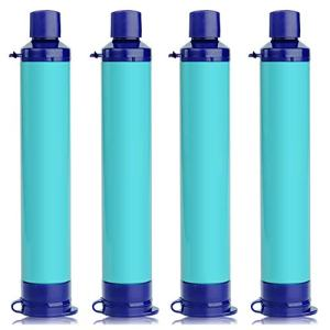 Membrane Solutions Portable Water Filter Straw Filtration Straw Purifier Survival Gear for Hiking, Camping, Travel, and Emergency, Blue, 4 pack