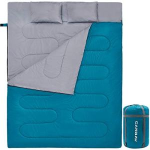 CANWAY Double Sleeping Bag with 2 Pillows, Waterproof Lightweight 2 Person Sleeping Bag for Camping,Backpacking, Hiking Outdoor Indoor for Adults or Teens Queen Size XL (Lake Blue-Polyester)