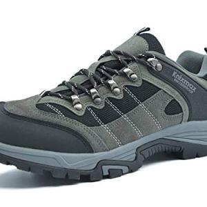 Knixmax Men's Hiking Shoes Waterproof Low-Cut Walking Shoe Breathable Lightweight Outdoor Sneakers for Camping Trekking Grey 10