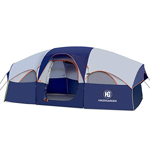 HIKERGARDEN Tent-8-Person-Camping-Tents, Waterproof Windproof Family Tent, 5 Large Mesh Windows, Double Layer, Divided Curtain for Separated Room, Portable with Carry Bag, for All Seasons (Blue)