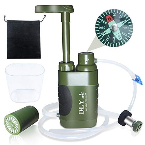 DLY Portable Water Filter Outdoor Water Purifier Camping - 0.01 Micron Emergency Backpacking Water Filter for Hiking with 4-Stage Filter Pump