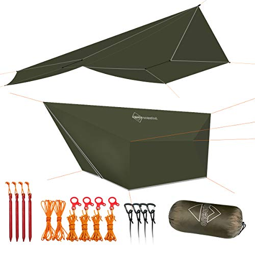 onewind Large Tarp Hammock Rain Fly Tarp 12ft Camping Shelter Silnylon Guyline Stakes Tensioners Included(Tarpsq12OG)