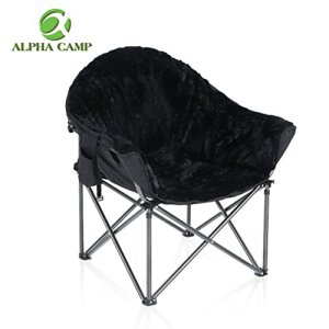 ALPHA CAMP Plush Moon Saucer Chair with Carry Bag - Supports 350 LBS, Black