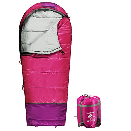 REDCAMP Kids Mummy Sleeping Bag for Camping Zipped Small, 40 Degree 3 Season Cold Weather Fit Boys,Girls & Teens (Pink with 2.4lbs Filling)