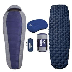 Outdoorsman Lab Mummy Sleeping Bag, Sleeping Pad and Pillow Bundle for Adults and Kids - Compact, Lightweight and Portable Camping Mattress and Pad - Hiking and Backpacking Gear Includes Compression Sack.