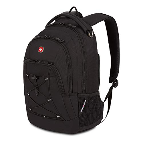 SWISSGEAR 1186 Bungee Laptop Backpack   Ideal for Commuting, Work, Travel, College, and School   Fits 13 Inch Laptop Notebook - Black