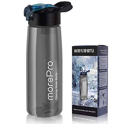 MorePro Premium Water Bottle with Built in Filter, BPA Free Outdoor High Capacity Purifier Straw with 4-Stage Integrated Filter System, Portable Emergency Water for Hiking, Backpacking Camping