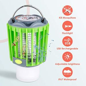 Albrillo Bug Zapper Camping Lantern - 4-in-1 Portable Camp Light, 4 Lighting Modes Flashlight, SOS Light, USB Rechargeable 2200mAh, IP67 Waterproof for Camping, Fishing, Hiking, Outdoor Sports
