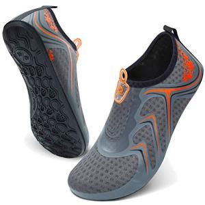 JIASUQI Womens Mens Summer Beach Water Skin Aqua Shoes for Pool Camping Orange 13-14 Women, 10.5-11 Men