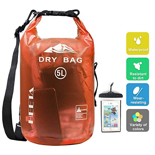 HEETA Waterproof Dry Bag for Women Men, Roll Top Lightweight Dry Storage Bag Backpack with Phone Case for Travel, Swimming, Boating, Kayaking, Camping and Beach, Transparent Orange 5L