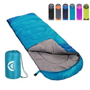 SWTMERRY Sleeping Bag 3 Season Warm and Cool Weather - Summer, Spring, Fall, Lightweight,Waterproof Indoor and Outdoor Use for Kids, Teens and; Adults for Hiking, Backpacking and Camping (Sky Blue, Single).