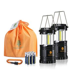 Forester+ Camping Lantern (2-Pack), Super Bright COB LED, Great for Camping, Hiking, Survival Kit, Emergency Light, Power Outage and Holiday Gift (6 x AA Batteries Included)