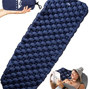 WellaX Ultralight Air Sleeping Pad - Inflatable Camping Mat for Backpacking, Traveling and Hiking Air Cell Design for Better Stability and Support Plus Repair Kit - Blue.