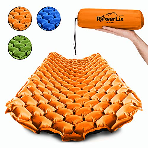 POWERLIX Sleeping Pad – Ultralight Inflatable Sleeping Mat, Ultimate for Camping, Backpacking, Hiking – Airpad, Inflating Bag, Carry Bag, Repair Kit – Compact and Lightweight Air Mattress.