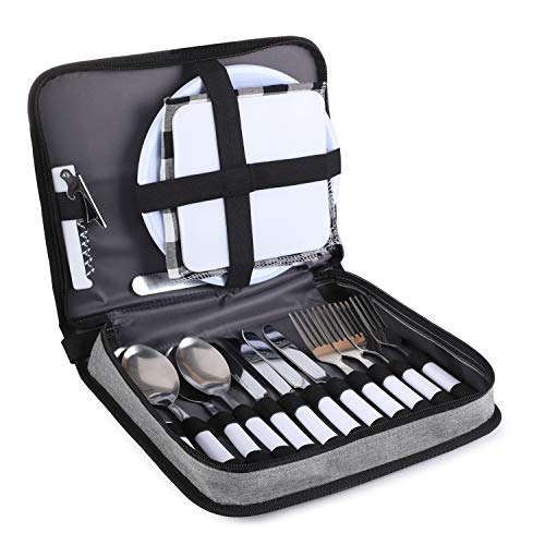 TAIBID Picnic Set Camping Silverware Cutlery Organizer 4 Person Dinnerware Set - 24pcs Eating Utensils Set with ECO-Friendly PS Plate Spoon & Butter Knife Wine Opener Fork Napkin (Black & Grey)