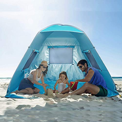 Poray UV50+ Instant Beach Tent,Pop Up Shelter with 3 Windows,Fishing Camping Portable Light Weight Windproof Cabana for Picnic (Blue)