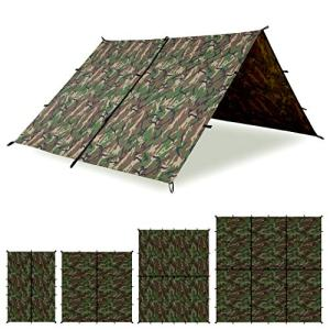 Aqua Quest Defender Tarp - 100% Waterproof Heavy Duty Nylon Bushcraft Survival Shelter - 10 x 10 ft Camo