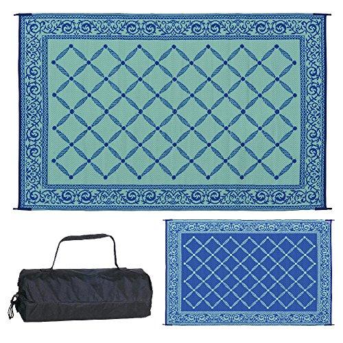 Reversible Mats Outdoor Patio 6-Feet x 9-Feet, Blue/Light-Green RV Camping Mat