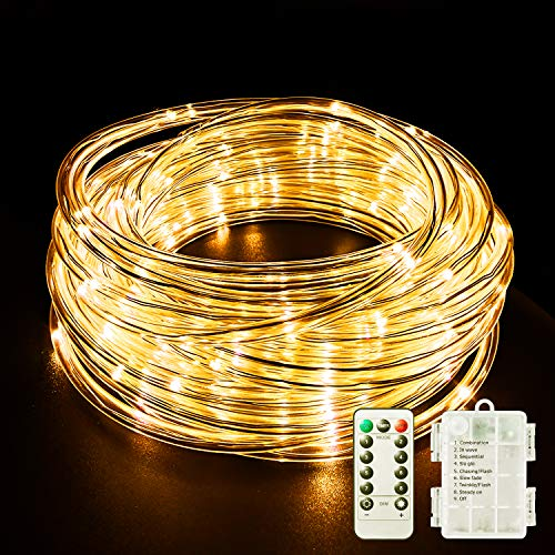 Fitybow LED Rope Lights Battery Operated String Lights 40Ft 120 LEDs 8 Modes Hanging Fairy Lights Dimmable/Timer with Remote for Camping Party Halloween Christmas Decoration (Warm White)