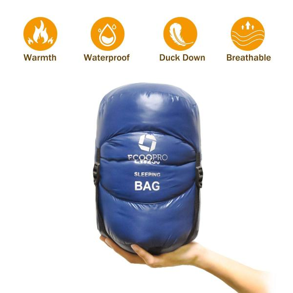 ECOOPRO Down sleeping bag, 32 degree F 600 Fill Power cold weather sleeping bag - Ultralight compact portable waterproof camping sleeping bag with Compression Sack for adults, teen, kids (Blue)