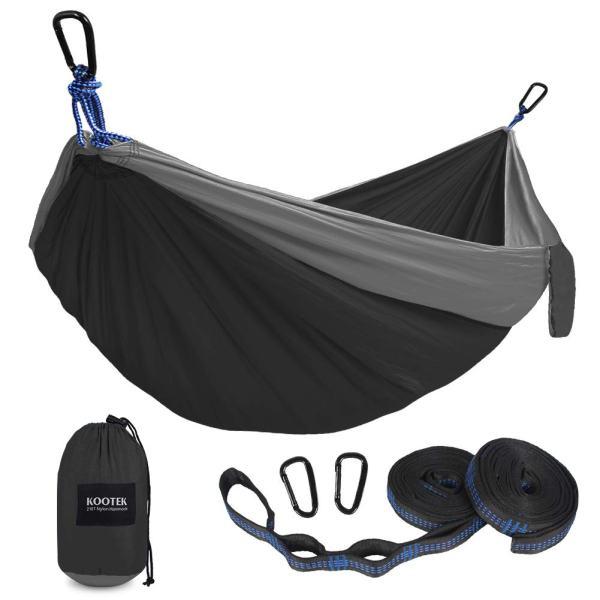 Kootek Camping Hammock Double and Single Portable Hammocks with 2 Tree Straps, Lightweight Nylon Parachute Hammocks for Backpacking, Travel, Beach, Backyard, Patio, Hiking