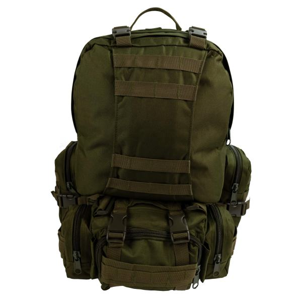 Military Army Tactical Backpack Combat 3 Day Assault Pack Molle Bag Rucksacks Camping Hunting with Flag Patches (GREEN 016, 50L)