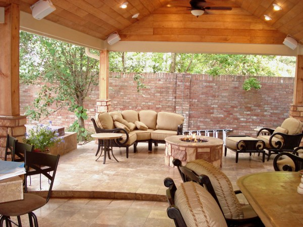 covered outdoor living patio Houston Outdoor Living Spaces - Fire Pit And Spa!