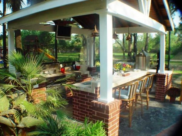 tropical patio outdoor kitchens 4 Football-Friendly Houston Patio Covers