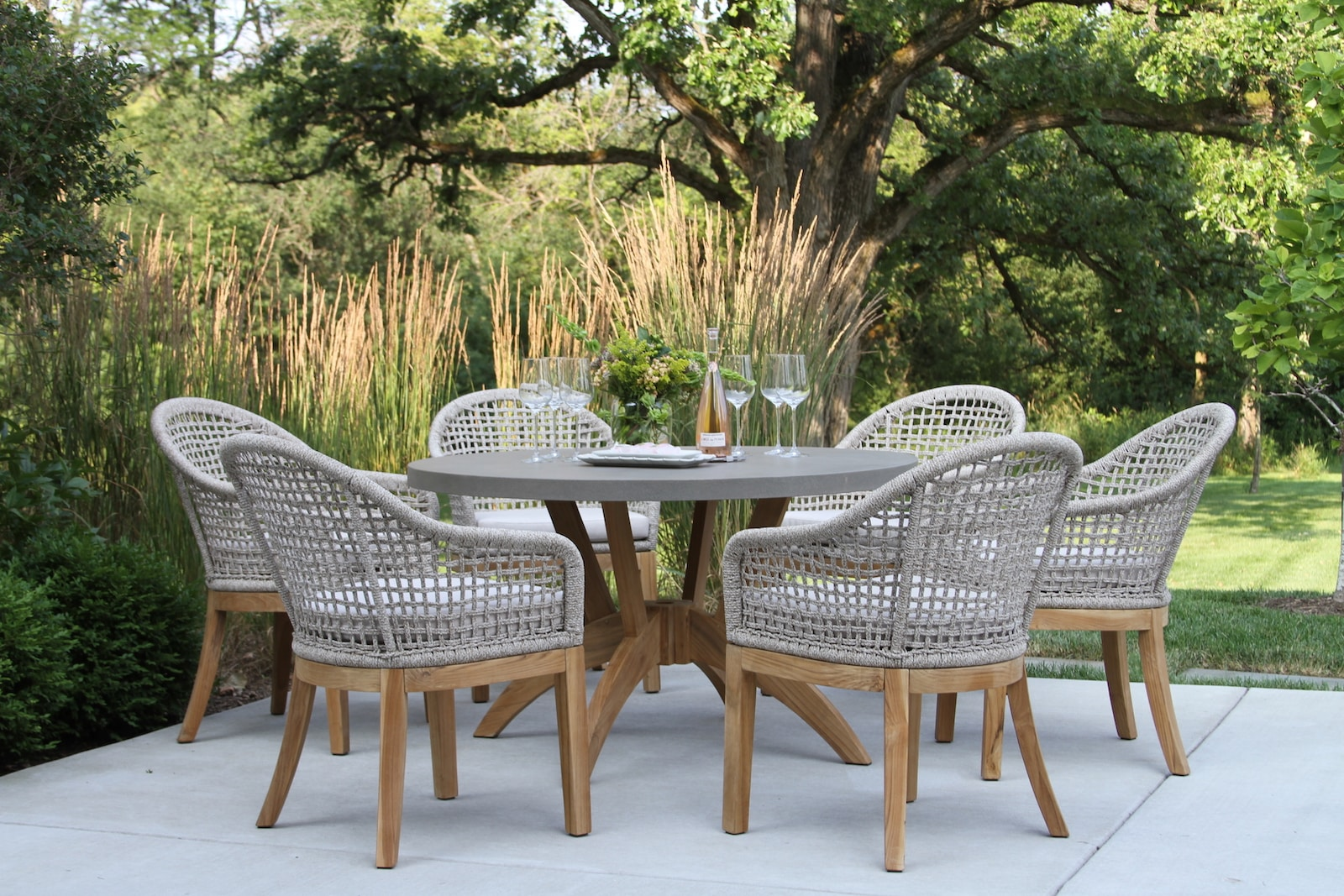 nautical rope teak dining chairs with